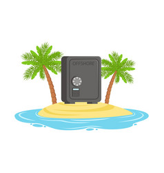 Closed safe on a tropical island hidden in vector