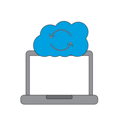 cloud storage device laptop with cloud data base vector image