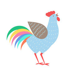 cock with colorful tail vector image