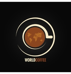 coffee cup world map background vector image vector image