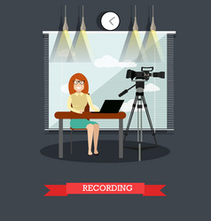 court recording in flat style vector image