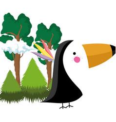 cute bird toucan in the landscape vector image
