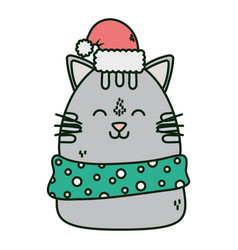 Cute cat with hat and scarf celebration happy vector