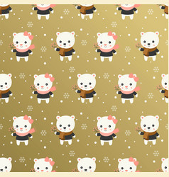 cute polar bear christmas seamless pattern theme vector image