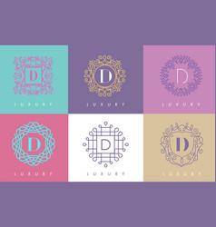 d letter pastel floral monogram lines logo design vector image