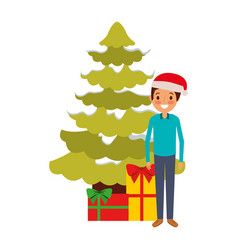 dad standing with the christmas tree and gift vector image