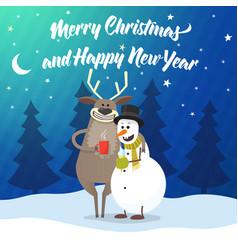 deer and snowman cartoon vector image