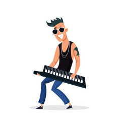 Electric piano player flat character vector