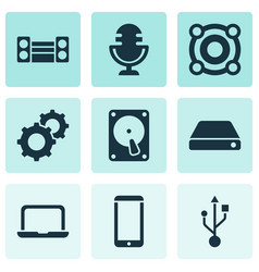 electronics icons set with microphone technology vector image