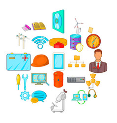 Engineering department icons set cartoon style vector