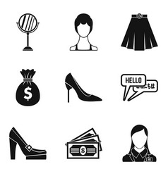 Escort icons set simple style vector