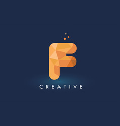 f letter with origami triangles logo creative vector image