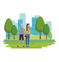 Faceless couple walking together vector
