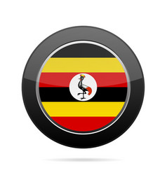 flag of uganda shiny black round button vector image