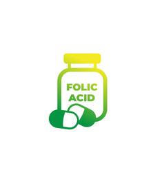 Folic acid bottle icon vector