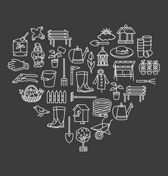 Garden icon tool sale banner set in heart vector