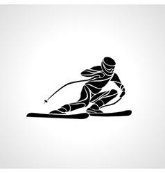 Giant slalom ski racer silhouette vector