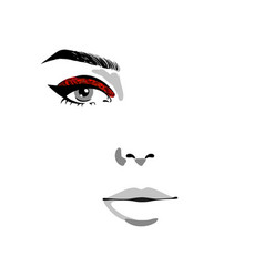 Half of woman face with red glitter make up vector