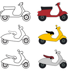 handdrawn paint of red italian scooter vector image