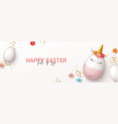 happy easter horizontal banner vector image