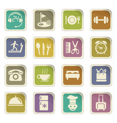 Hotel room service icon set vector