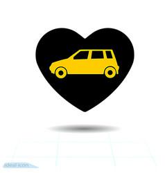 icon black heart is symbol car in love vector image