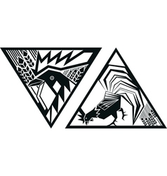 image of rooster in triangle vector image