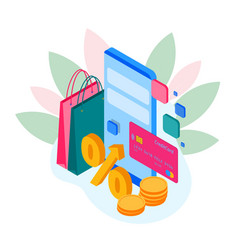 isometric shopping store on a smartphone online vector image