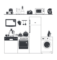 Kitchen silhouette appliances washing machine vector