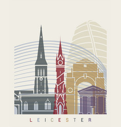 Leicester skyline poster vector