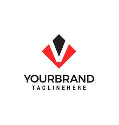letter v negative space square logo design vector image