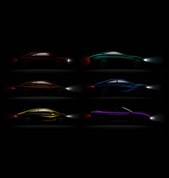 Lightened cars darkness realistic set vector