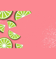 Lime in paper cut style origami juicy ripe lime vector