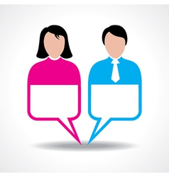 Male and female icon with message bubble vector