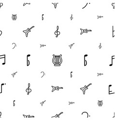 melody icons pattern seamless white background vector image
