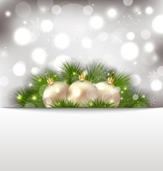 Merry christmas postcard with fir branches vector