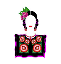 mexican woman in tehuana clothing mexican huipil vector image