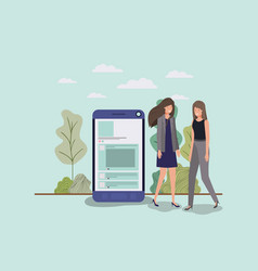 mini people working in smartphone vector image