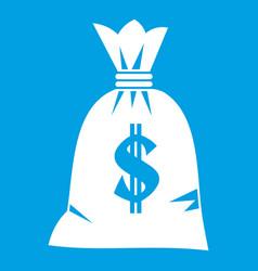 Money bag icon white vector