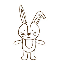 monochrome hand drawn silhouette of bunny vector image
