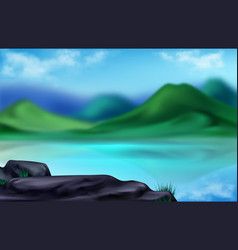 Mountain landscape summer blurred background vector