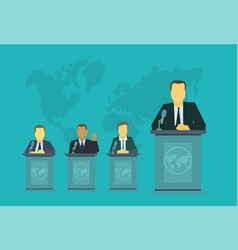 mr president on the rostrum tribune politics vector image