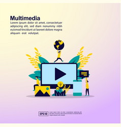 multimedia concept with people character for vector image