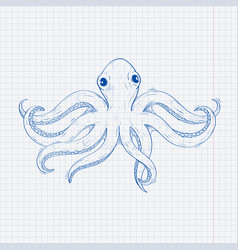 octopus hand drawn sketch on lined paper vector image