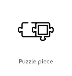 outline puzzle piece icon isolated black simple vector image