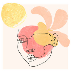 Outline woman face on floral vector