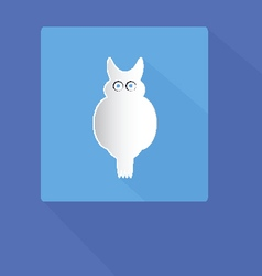 owl icon with shadows on blue background vector image