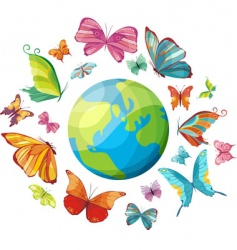 planet of butterflies vector image vector image