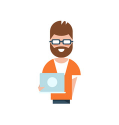 Professional programmer character smiling man vector