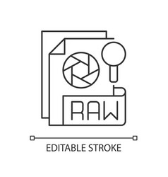 Raw file pixel perfect linear icon vector